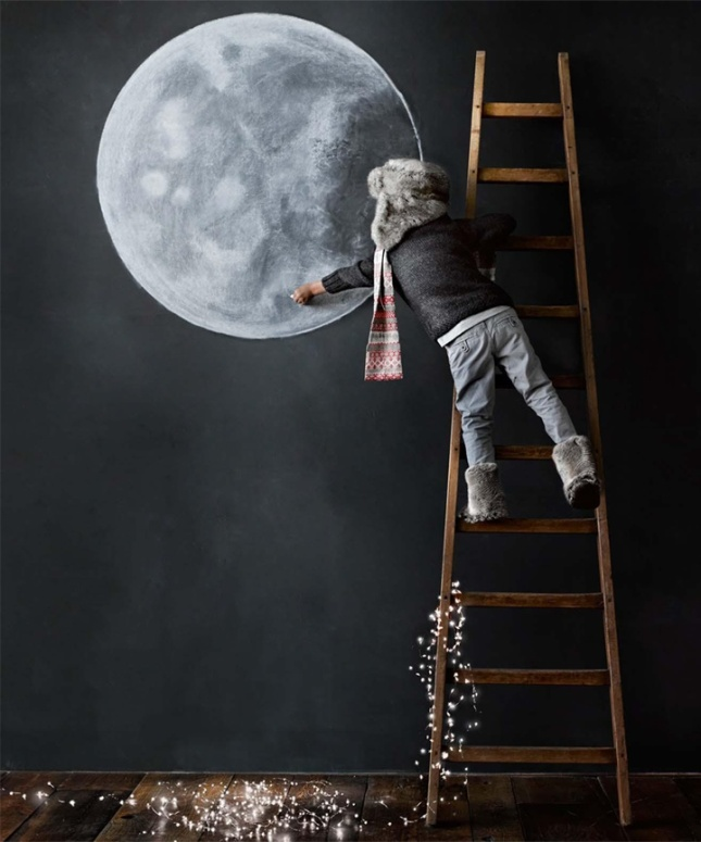 Love the idea of painting a wall a dark chalkboard slate. And Jay loves the moon...